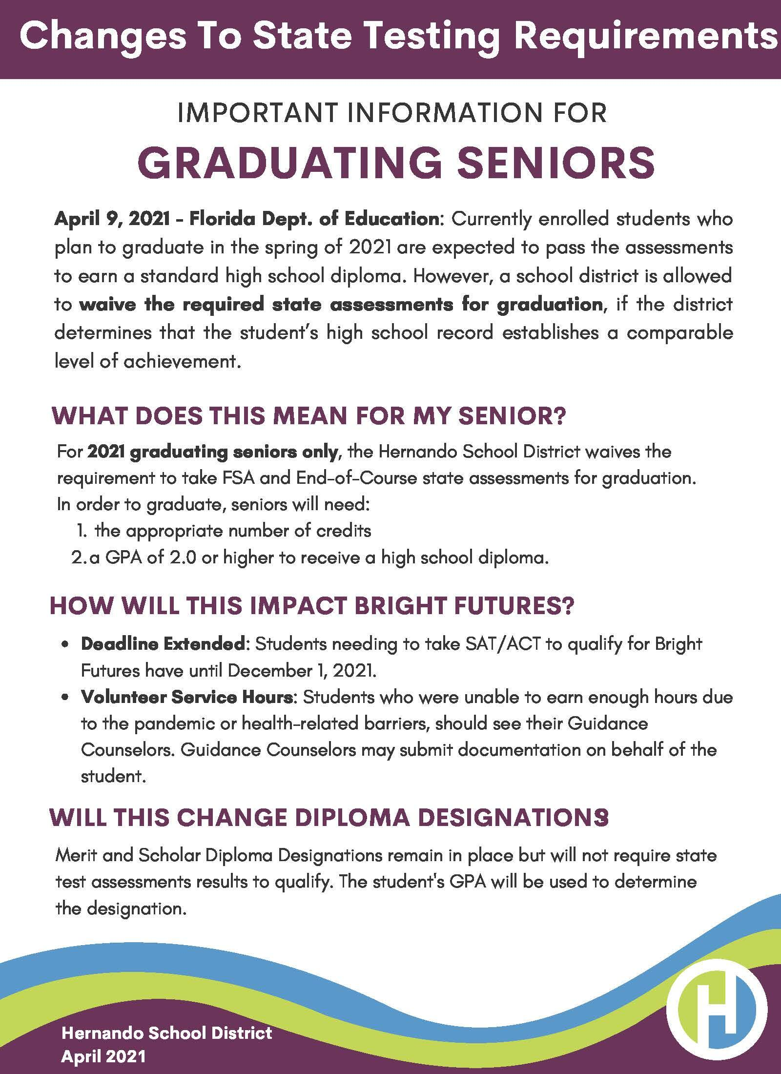 Guide to Understanding Changes to State Testing for Seniors
