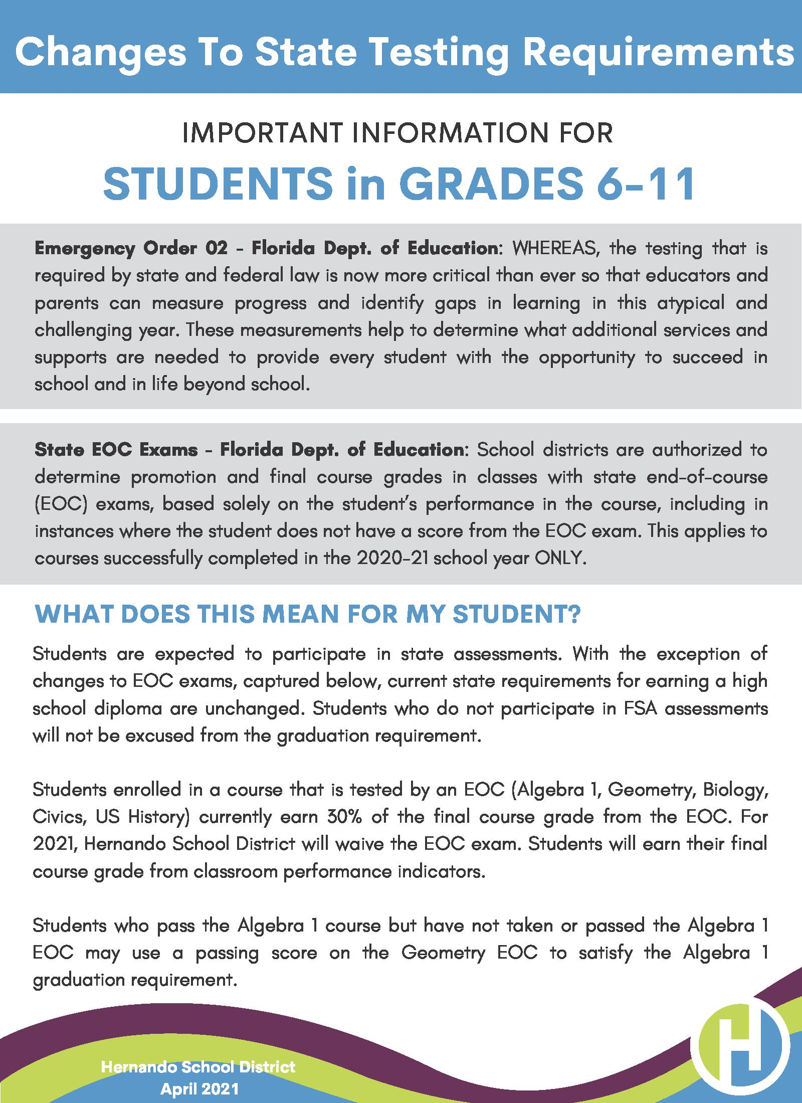 Guide to Understanding Changes to the State Testing for Grades 6-11