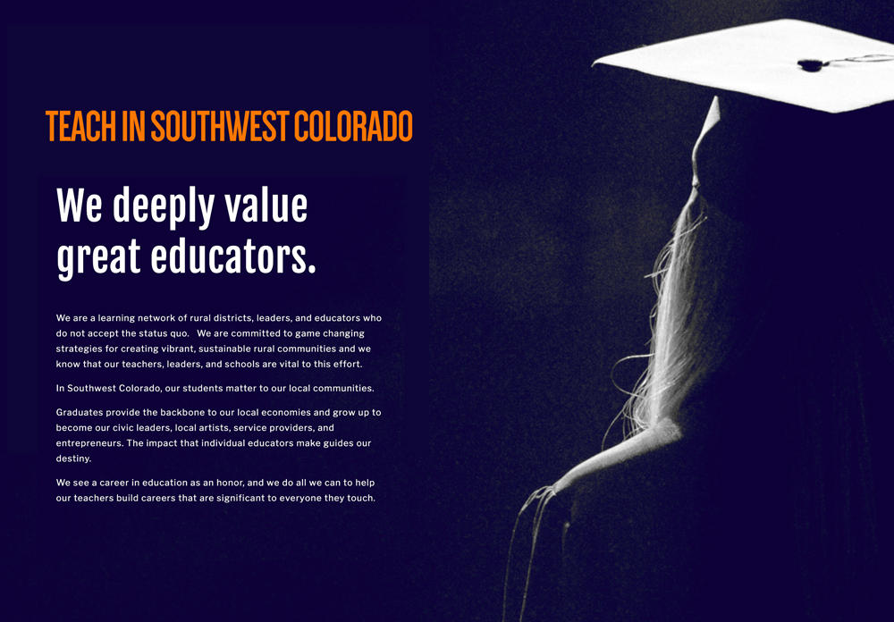 Screen shot of Teaching in Southwest Colorado Website