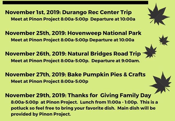 pinon project youth activities november article