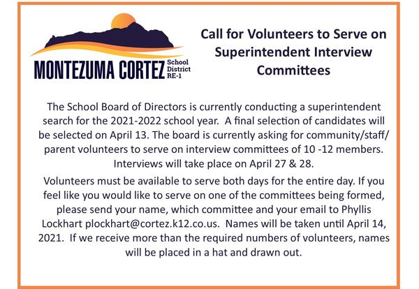Call for Volunteers to Serve on Superintendent Interview Committees