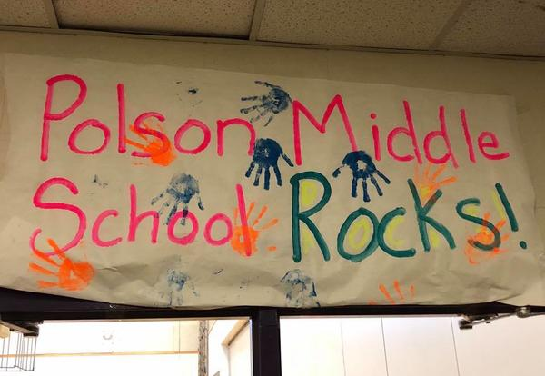 PMS Banner Saying Middle School Rocks!