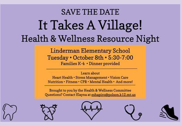 Health and Wellness Resource Night flyer
