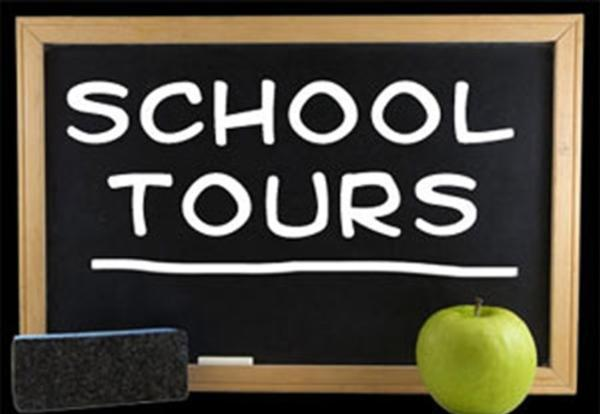 Clip art chalkboard with school tours written on it