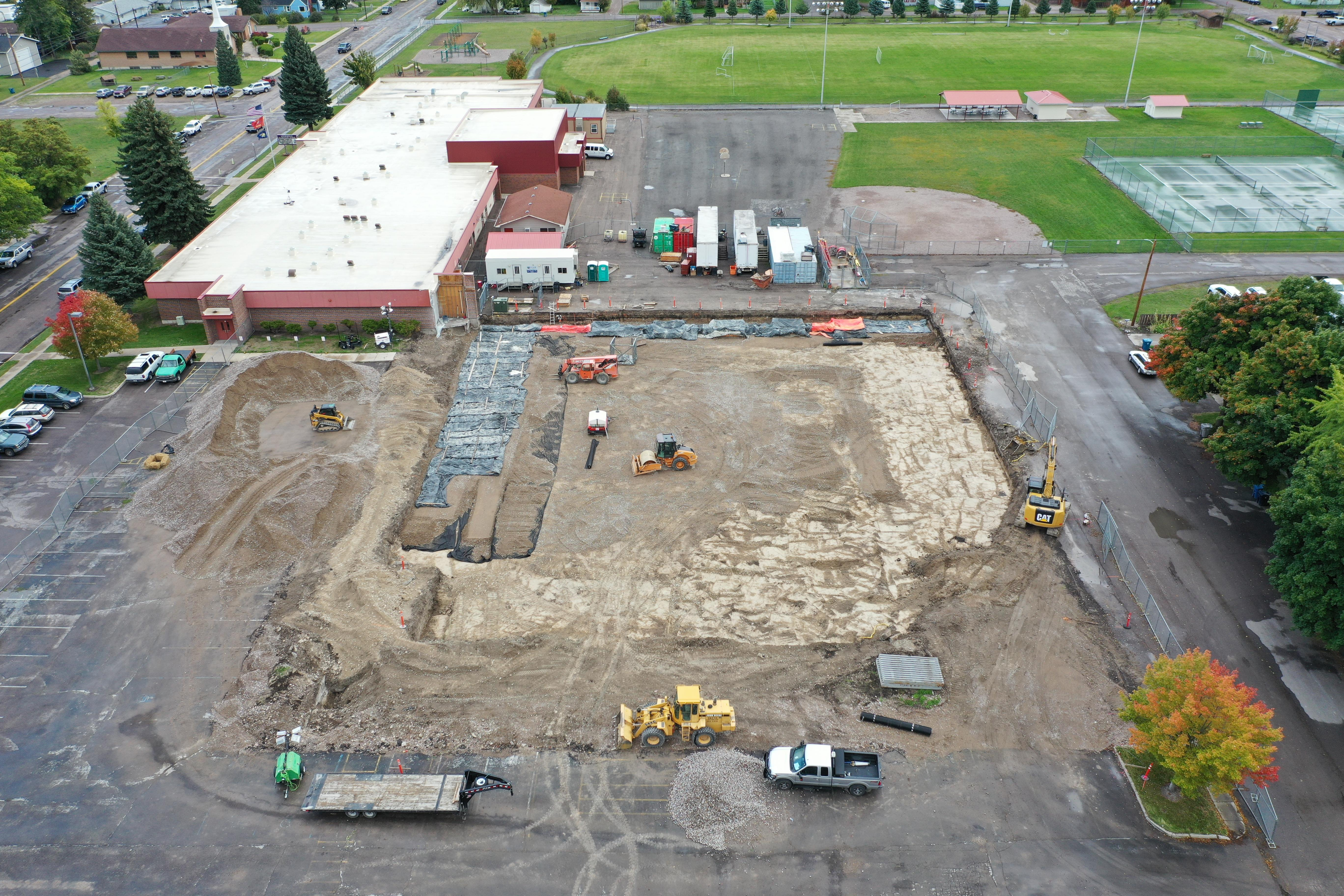 Aerial View of Linderman Gym Construction Site