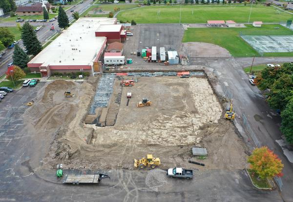 Aerial View of Linderman Gym Construction