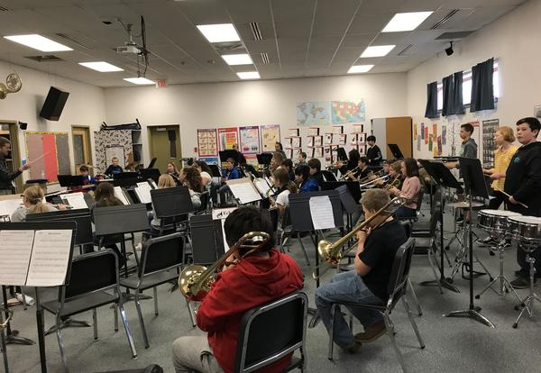 photo of band practice in Mr. Ross's band room