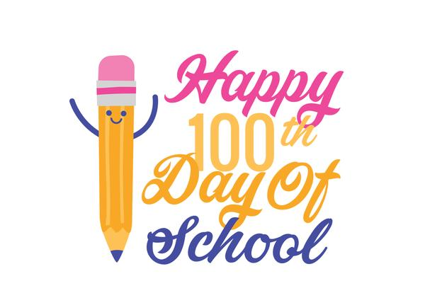 Pencil Clipart - saying happy 100th day of school