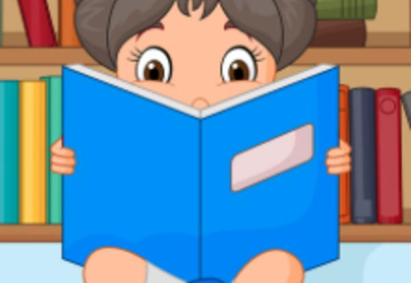 child with library book