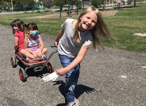 Kids on a wagon