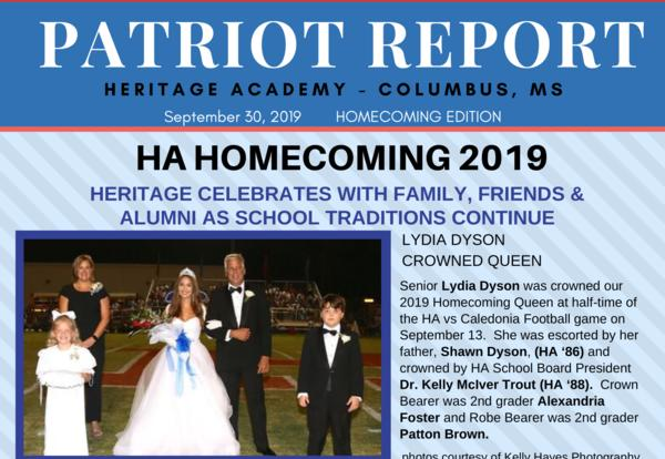 Homecoming 2019 Edition of the Patriot Report