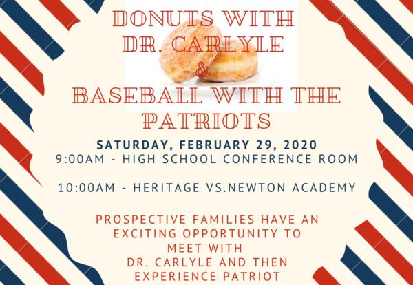 Donuts with Dr. Carlyle and Heritage Baseball