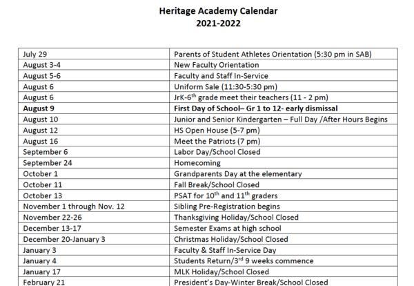 2021-2022 Academic Calendar - updated