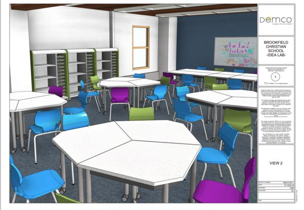 rendering of BCS IDEA lab with desks and chromebook carts