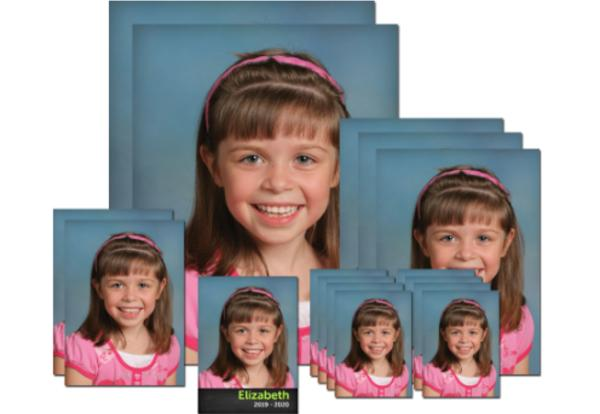 photo of school picture package with a girl's face