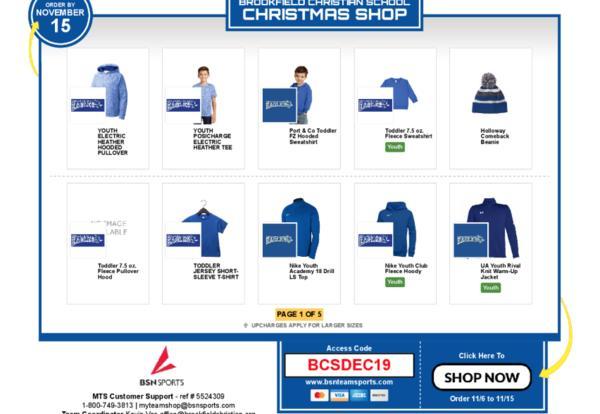 photo of spirit wear store page with various apparel items pictured