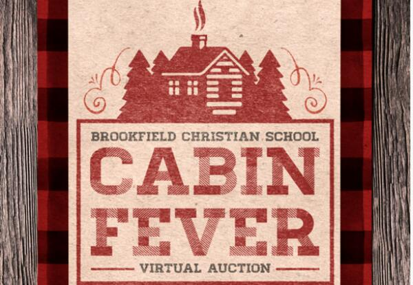 Auction logo featuring a red log cabin and the words cabin fever with a wood texture background