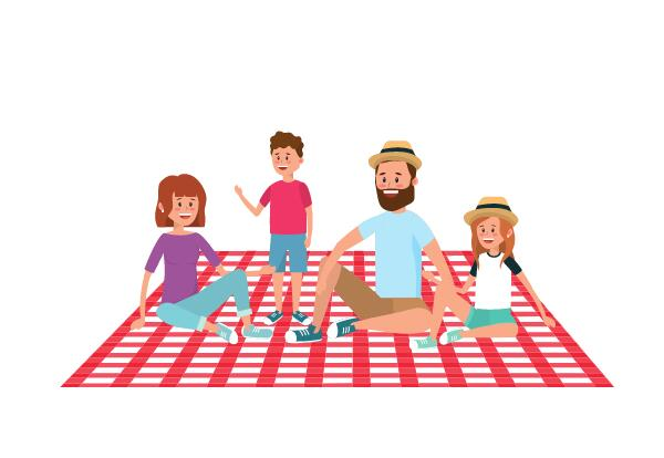 family with 2 parents and 2 kids seated on a checked picnic blanket