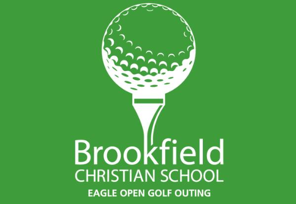 white golf outing logo on a green background