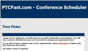 the finished message from the conference scheduler