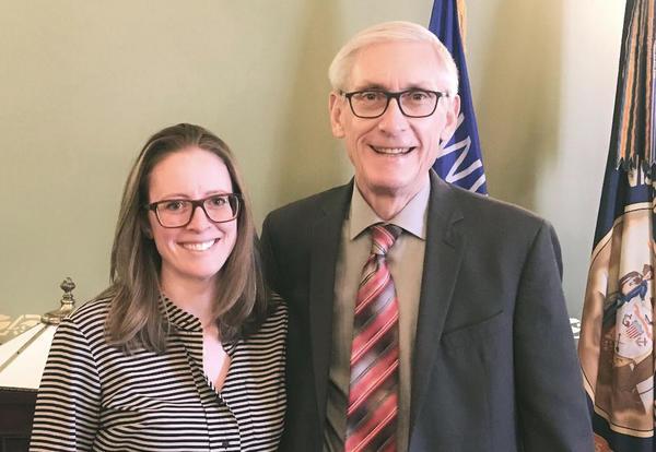 Erin Deeley with Gov. Evers