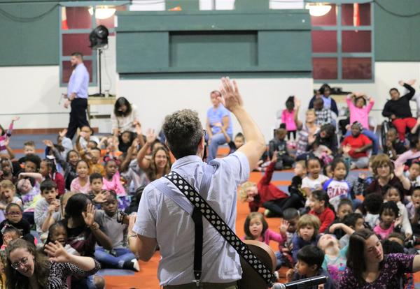 Eric Litwin performs for prekindergarten through fifth-graders at ASH.
