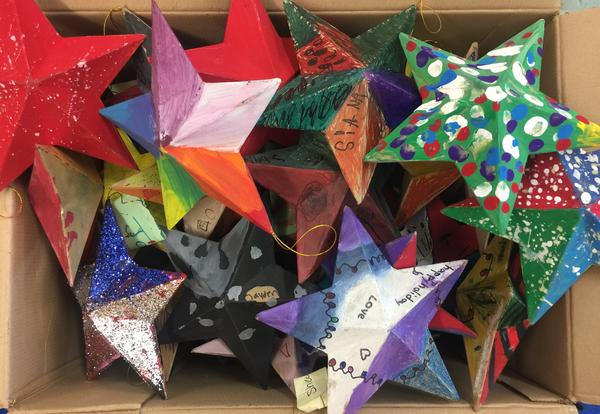 A box of stars created by students in art class at Albany School of Humanities.