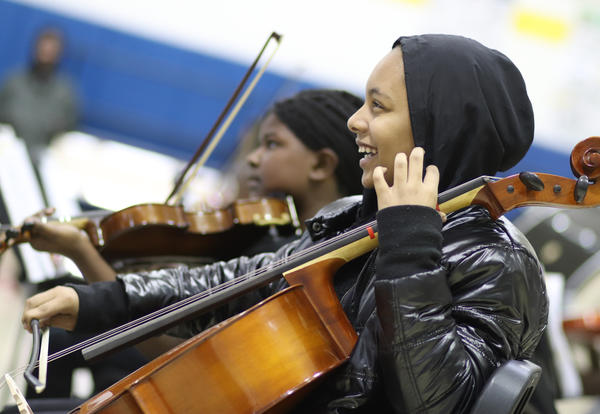 An O'Neal Middle School student plays the bass at a school concert