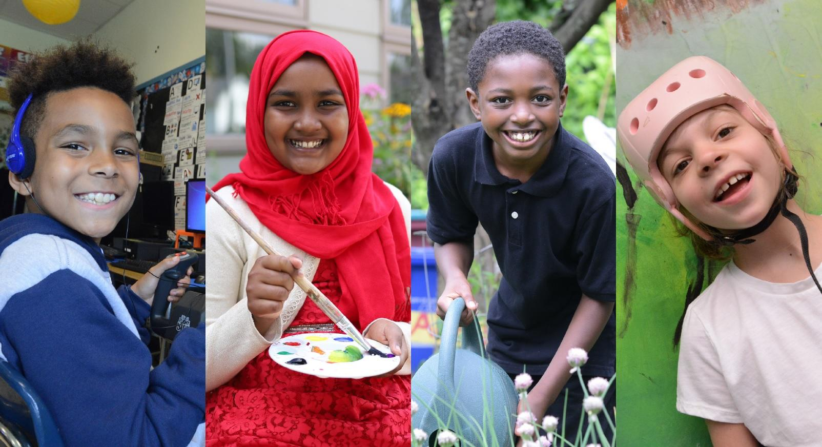 Four pictures of students, one from each of the magnet schools. A TOAST student using a flight simulator, a Montessori student painting, a Delaware student watering flowers and an ASH student smiling.