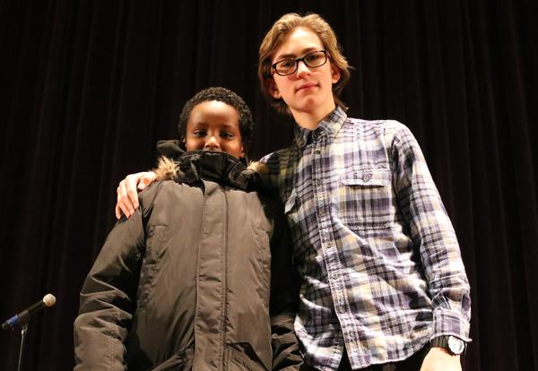 Isaac Allen and Ayub Degi pose after placing first and second, respectively, in the district spelling bee.