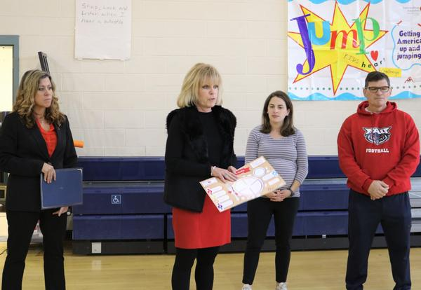 Representatives from the American Heart Association made a donation to Albany School of Humanities.