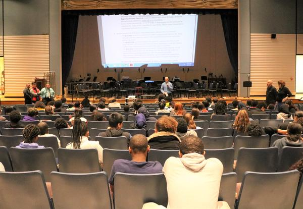 An assembly was held at Myers to discuss CDTA expectations and safety.