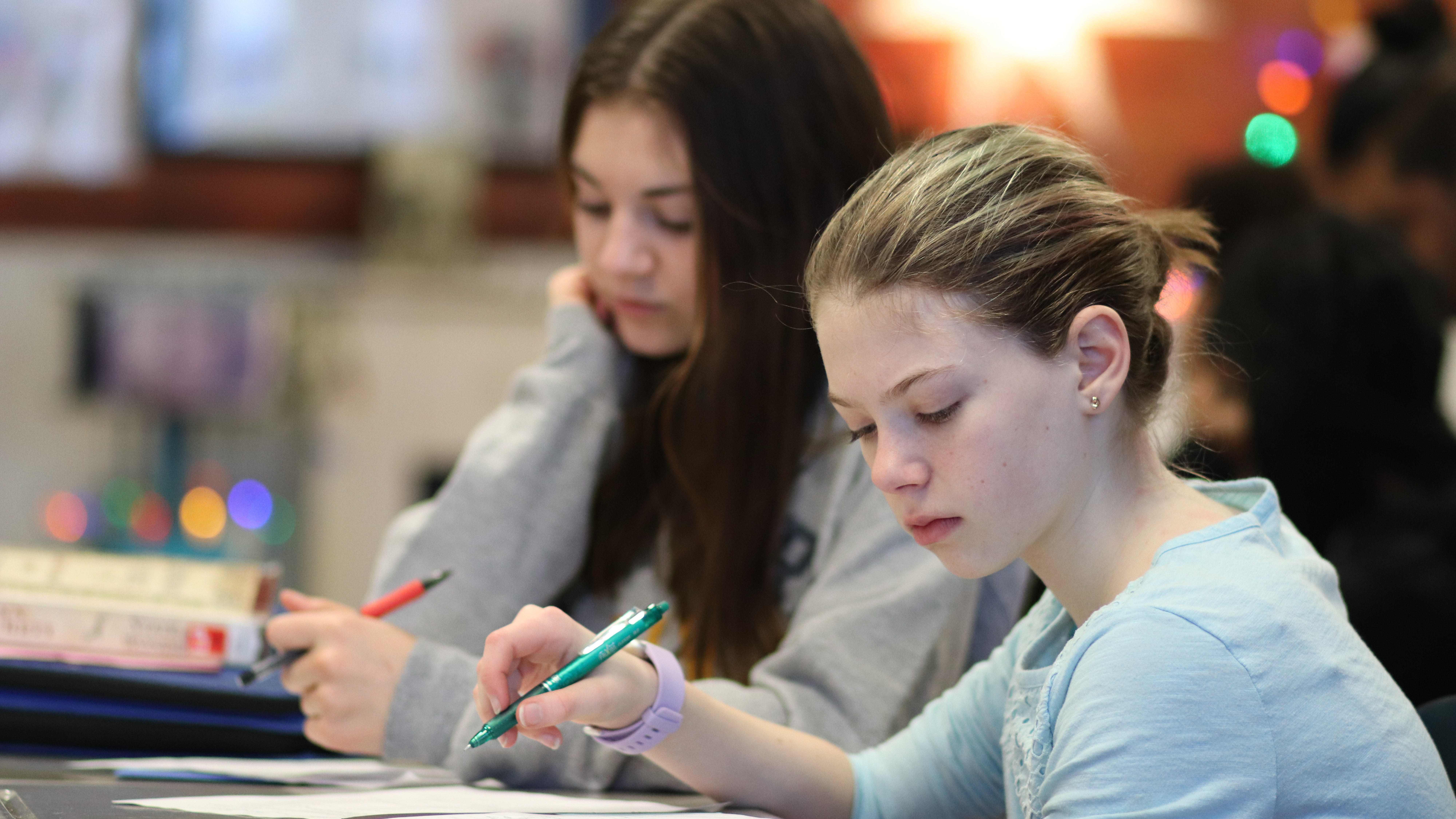 Students working at their desks.