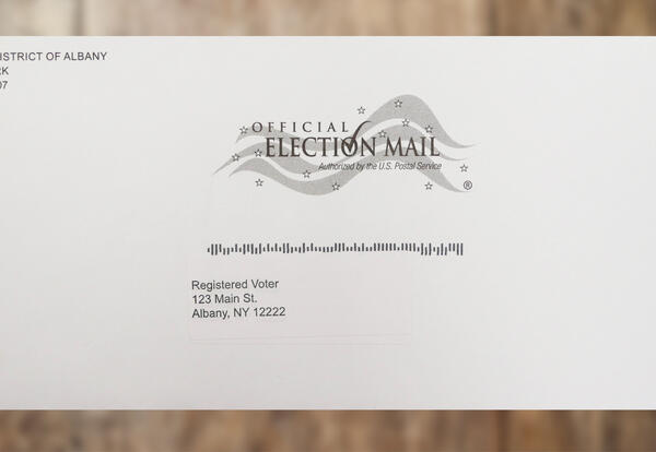 A photo of the outside of an absentee ballot envelope