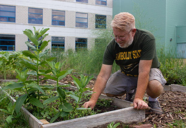 Bill Stoneman pulls up weeds in a garden bed outside Myers Middle School