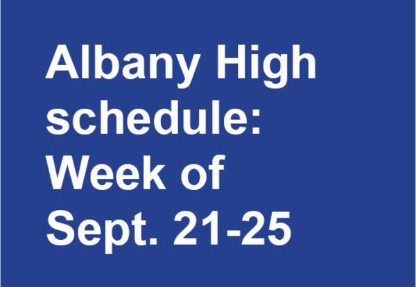 High school schedule, week of Sept. 21-25