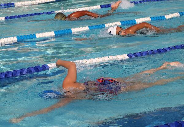 Girls' swimming practice.