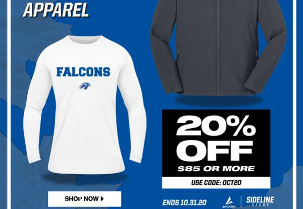 Discount code for Falcon Sideline Store.