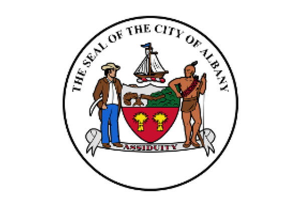 Seal of the City of Albany featuring a ship, a shield, a settler and a Native American