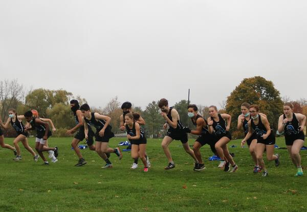 The boys' and girls' cross country teams race against Troy.
