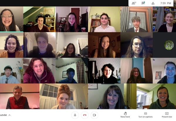 Screen shot of members of the Mock Trial Club