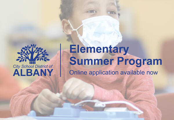 """Text that reads """"Elementary Summer Program online application available now"""" overlaid on a picture of a student"""