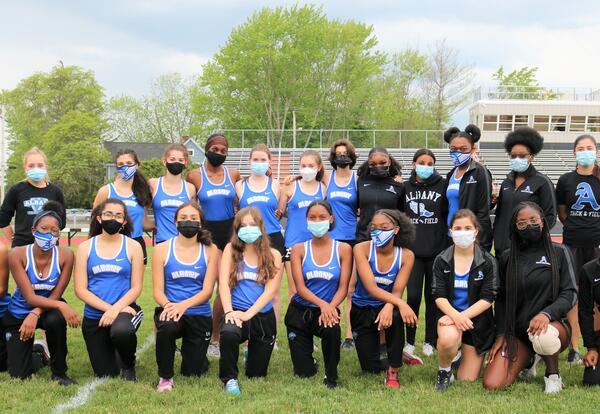 Girls' track team before a meet.