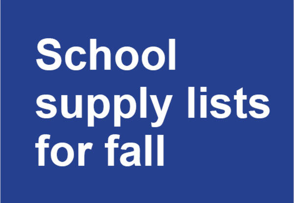 School supply lists for fall