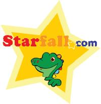 Alligator peeking out of a star for the Starfall website
