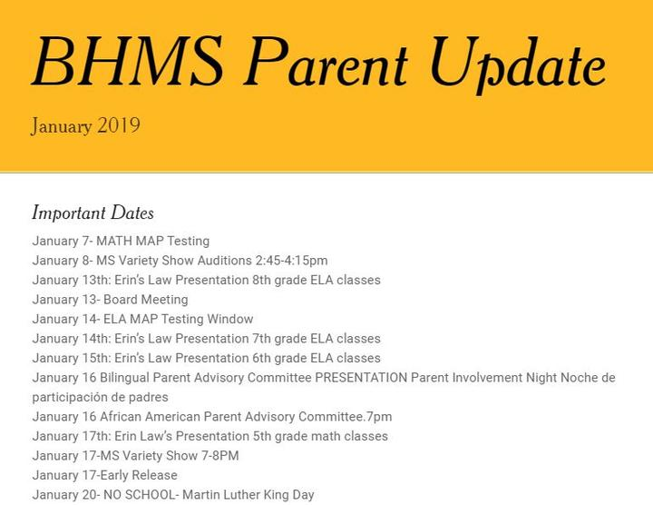 BHMS Parent Update