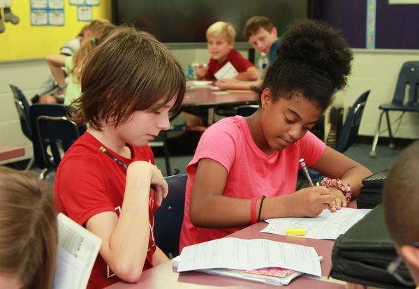 Bramlett students working at desk