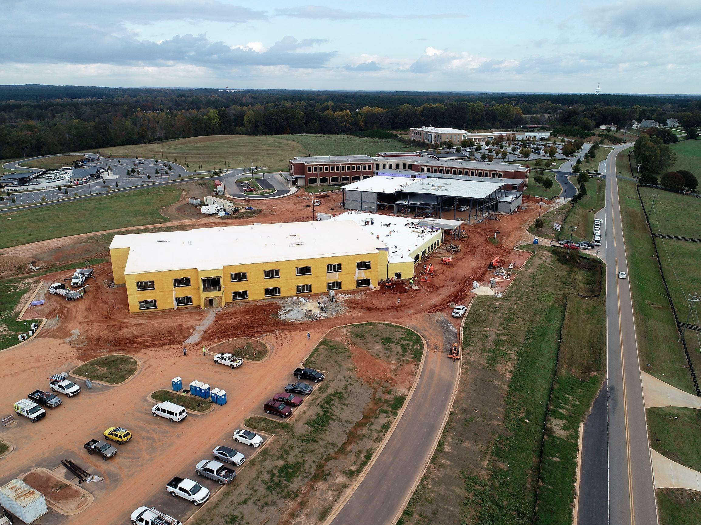 Barrow Arts and Sciences Academy construction - aerial photo