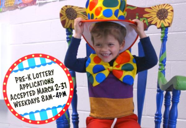 Pre-K Lottery Applications accepted March 2nd to 31st weekdays 8am to 4pm