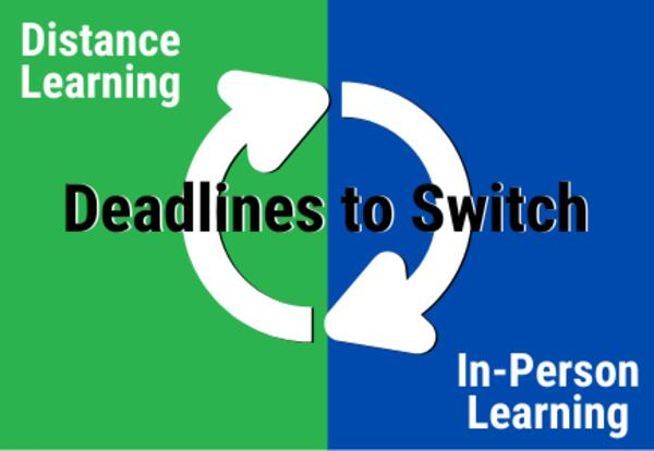 Distance Learning - Deadlines to Switch - In-Person Learning